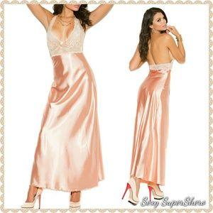 🆕 Lace & Soft Satin Long Lingerie Gown Peach